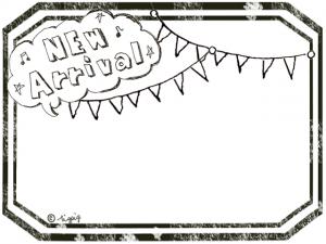 雲形のフキダシのNew Arrivalの手描き文字と旗のラベル風フレーム(640×480pix)