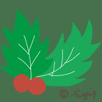 クリスマスに使える柊のイラストアイコン:200×200pix