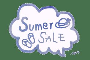 SummerSALEの手書き文字と雲形のフキダシ:600×400