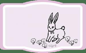 兎と北欧風の花のピンクのラベル風フレーム-no01