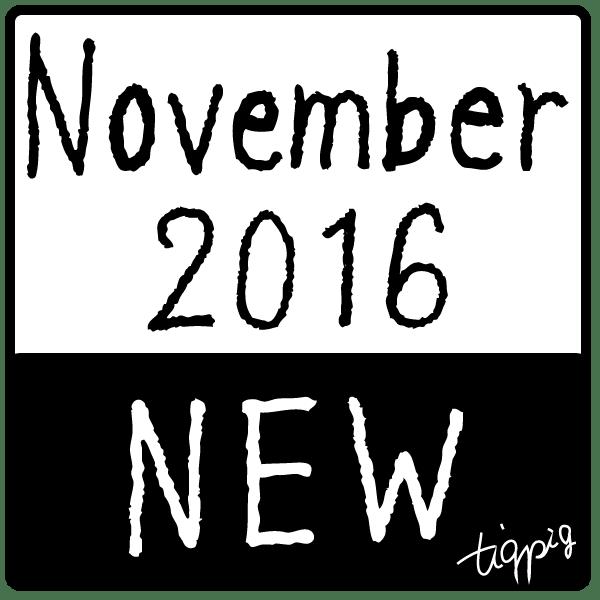 11月の新商品のweb制作に使えるNovember 2016 NEWのモノトーンの四角いラベル素材:600×600pix