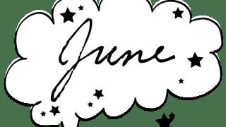 【6月】Juneの手書き文字と星のモノトーンのフキダシ素材