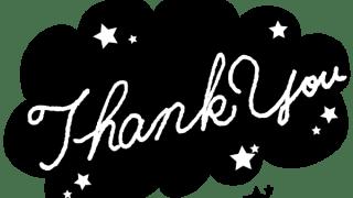 【ギフトの文字】Thank youの手書き文字(白抜き)と星のフキダシ(黒)素材<モノトーン>