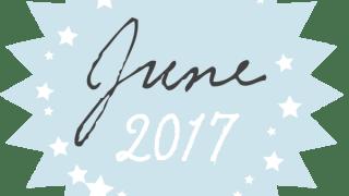 【2017年 6月】June 2017の手書き文字と星のギザギザのラベル素材<ブルー>:600×600pix