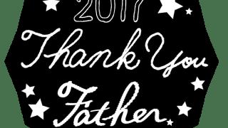 2017 Thank you Fatherの手書き文字と星の多角形のラベル素材<黒>:600×600pix