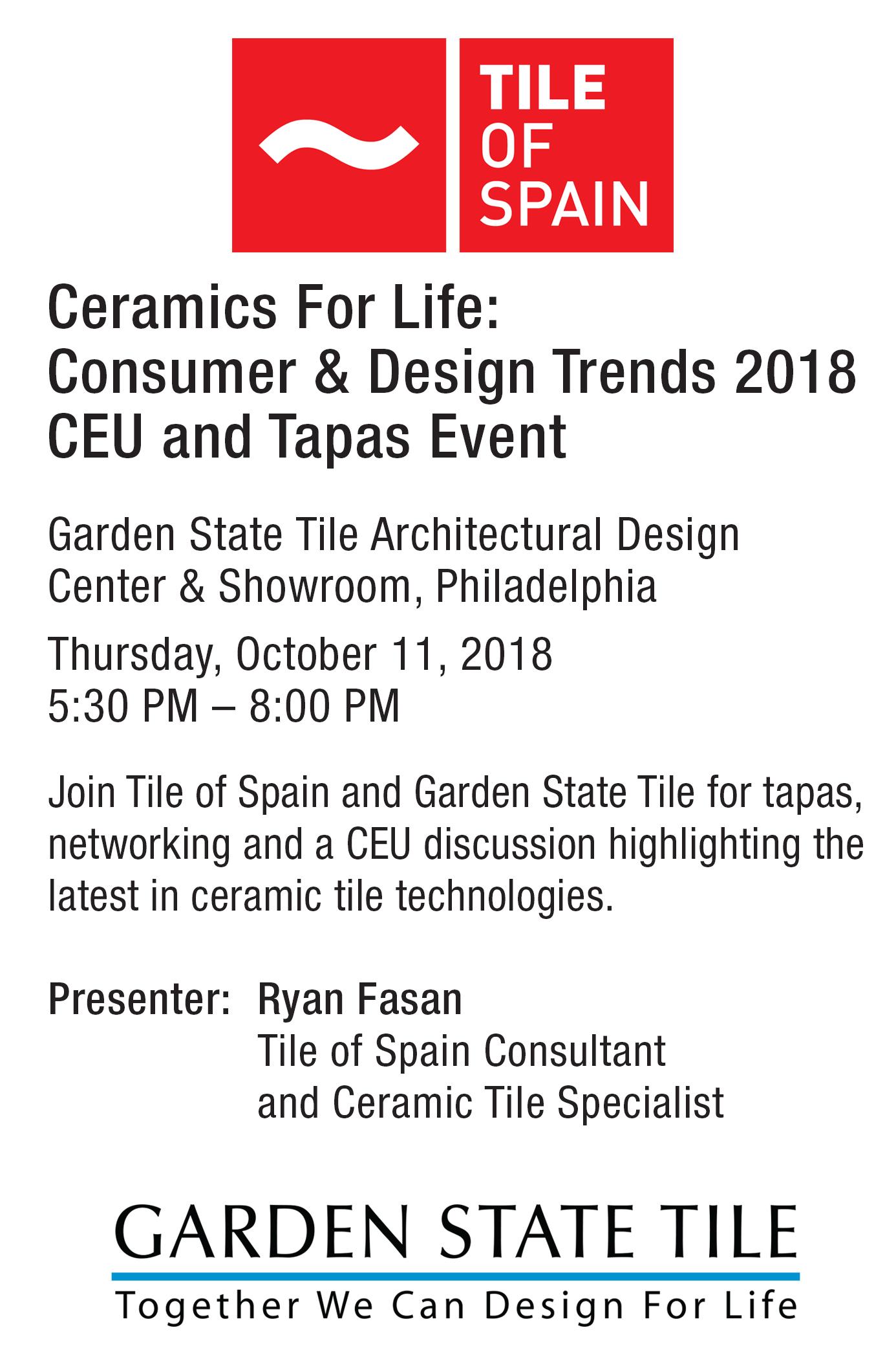 Neat Rsvp On Eventbrite Tile Life 2018 Ceu Event Spain Ceramics Garden Garden Tile Roselle Park Nj Garden Tile Corporate Office houzz-02 Garden State Tile