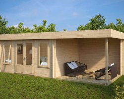 Contemporary Garden Log Cabin with Veranda Jacob D 12m² / 44mm / 7 x 3 m
