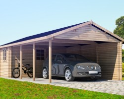 Extra Large Wooden Carport Emma with Tool Shed 30m² / 44mm / 4,3 x 7,7 m