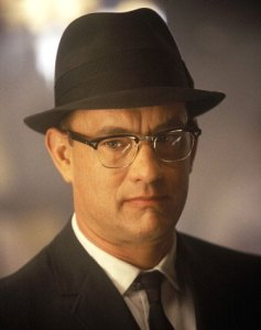 Tom Hanks looking creepy in HUAC-era apparel