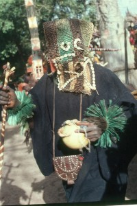 Among the Dogon masks are serious business, important in their religion. Yet, also in mask rituals, people are satirized; on this photo a mask of a ''seeer', important and yet very funny in his particular dance.