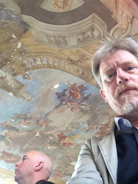 Dan Pontefract, me, and the gorgeous ceiling in the Hall of Sciences in Vienna