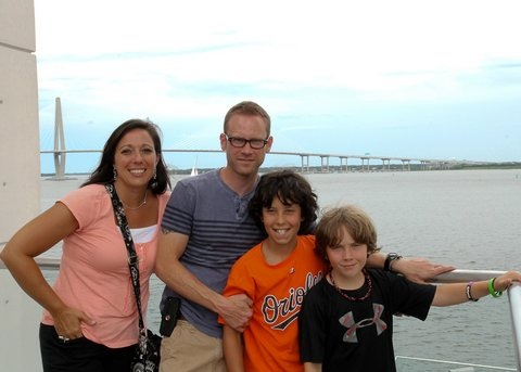 My family outside of the South Carolina Aquarium in Charleston