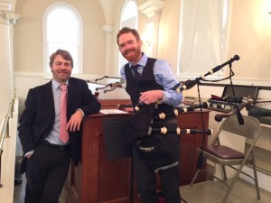 With Jeff Buettner at the Middlebury Congregational Church (photo © 2015 Jessica Allen)
