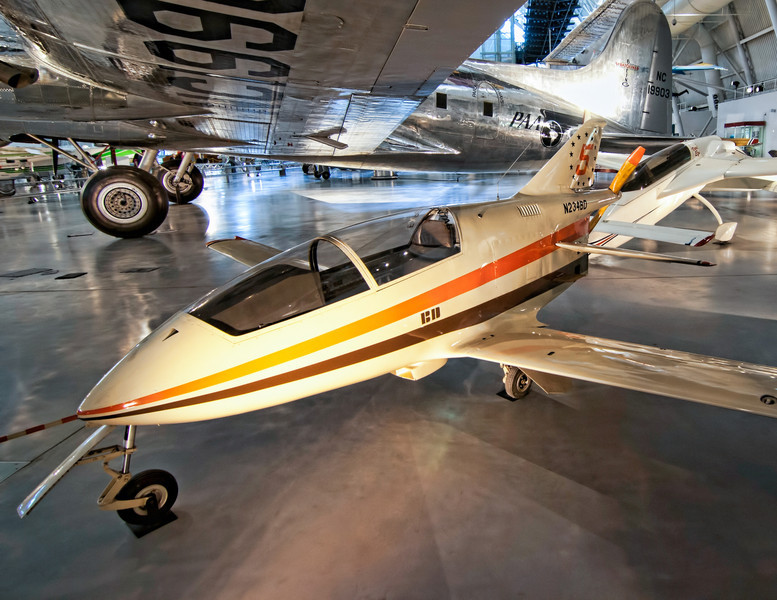 The BD-5 is a small, single-seat, homebuilt kit aircraft by the now-defunct Bede Aircraft Corporation in the early 1970s. It has a small, streamlined fuselage holding its semi-reclined pilot under a large canopy, with the mid-engine and propeller mounted immediately to the rear of the cockpit. The BD-5 sold over 5,000 kits or plans. Photo by Tim Stanley Photography.