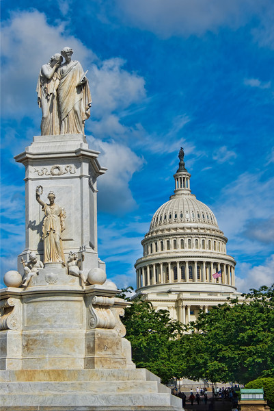 As we walked down the National Mall towards the Capitol Building, I discovered a large pool at the base between the street and thebuilding. This large statue looks out towards the Mall in front of the pool, welcoming visitors. Photo by Tim Stanley Photography.