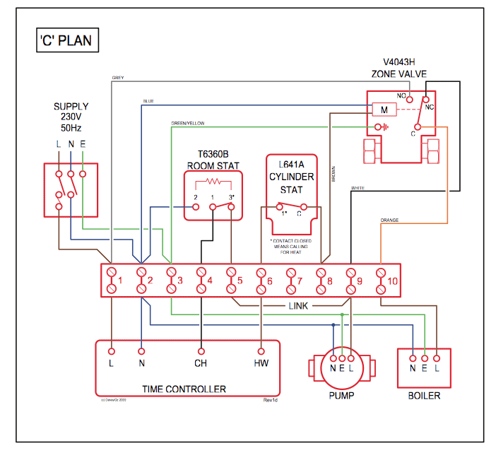 Central Heating Wiring Diagram Y Plan : Domestic central heating system wiring diagrams c w y