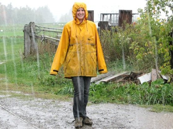 Dressed for the harvest rain
