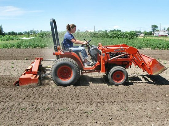 Rototilling with the Kubota compact=