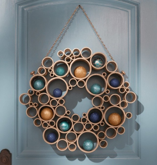 Wreath made out of PVC pipes.