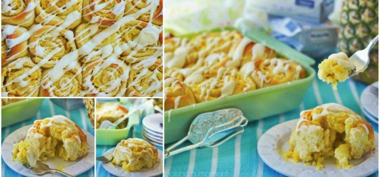 Pineapple Cream Cheese Rolls Collage