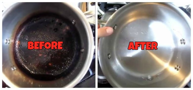 how to clean burns of stainless steel pot
