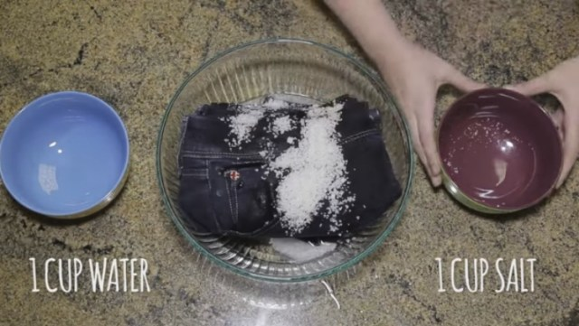 Wash jeans in saltwater to preserve color