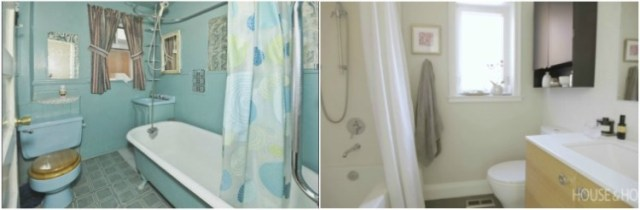 Before and after comparison of bathroom renovation