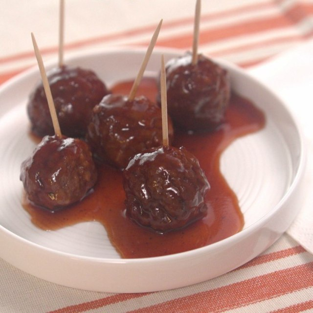 Slow cooker meatballs made with BBQ sauce and grape jelly