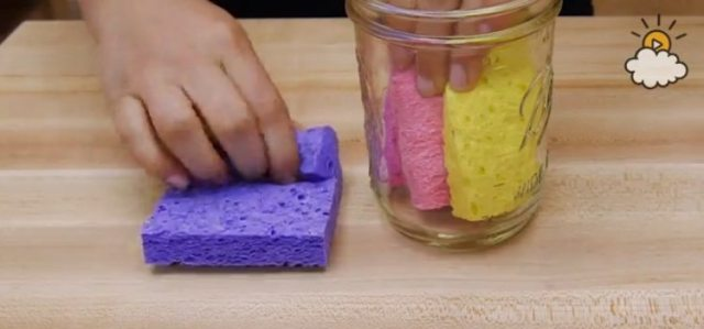 Roll sponges and put into mason jar