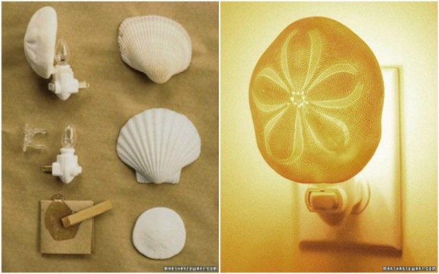 Attach a seashell to a night light clip