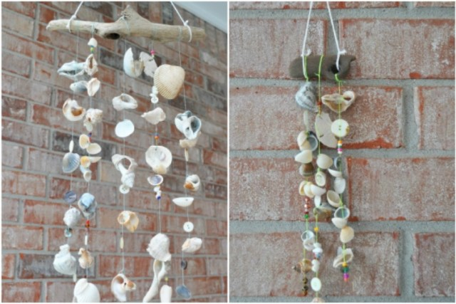 Make a wind chime out of seashells and driftwood