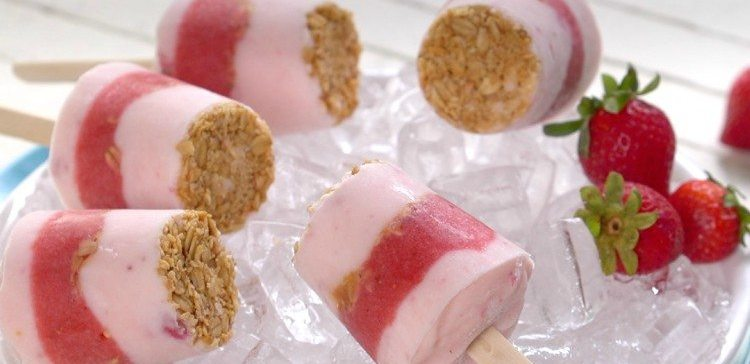 Homemade strawberry yogurt pops