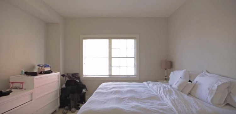 All white master bedroom before decor makeover