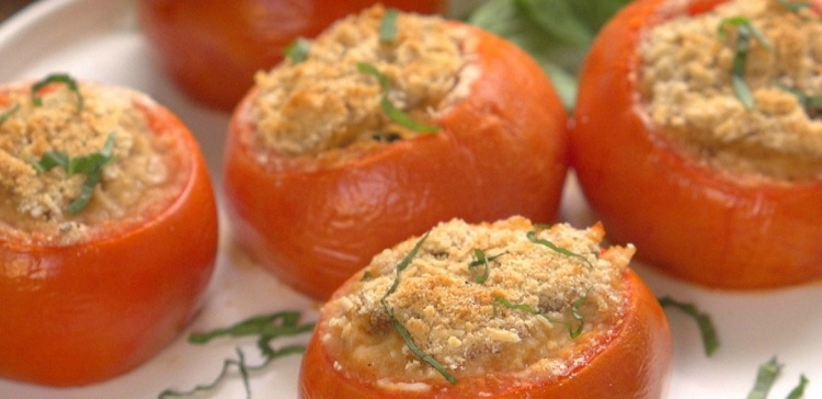 Close-up of tomatoes stuffed with sausage and arborio rice