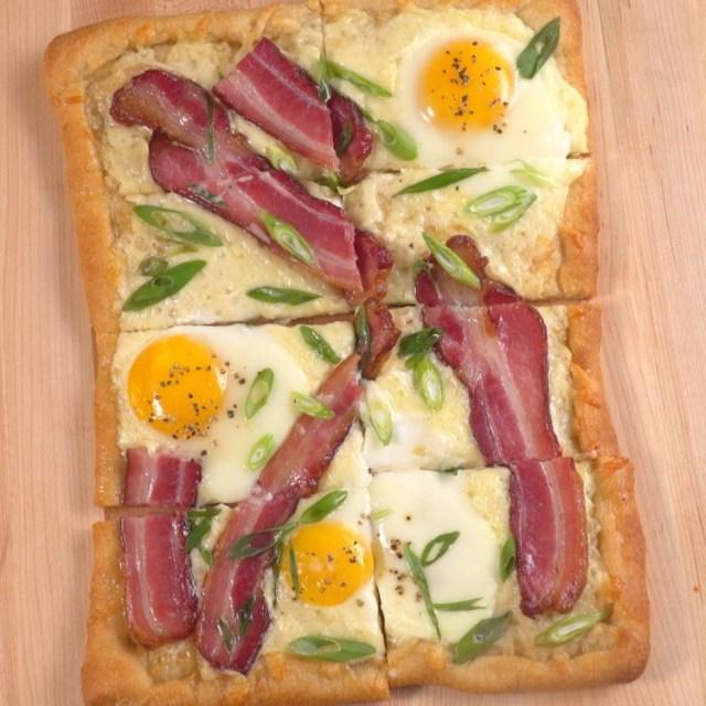 Overhead Whole Bacon & Egg Breakfast Tart