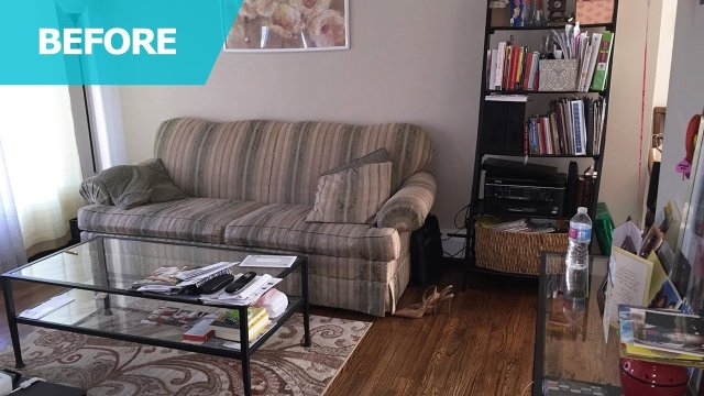 Small Detroit living room before IKEA products makeover