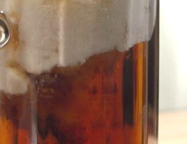 Close-up of mug of copycat butterbeer like in Harry Potter