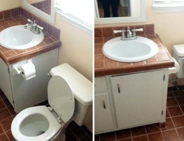 Image of terracotta bathroom before renovation.