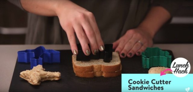 Shape sandwiches with cookie cutters.