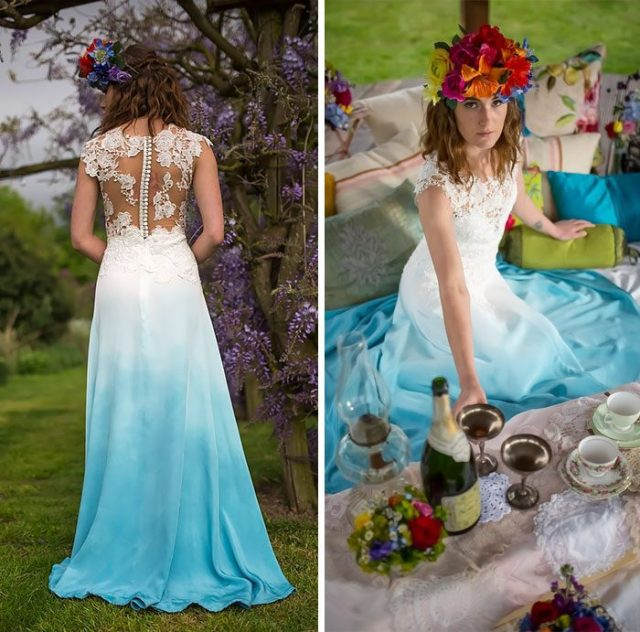 Light blue boho wedding dress.