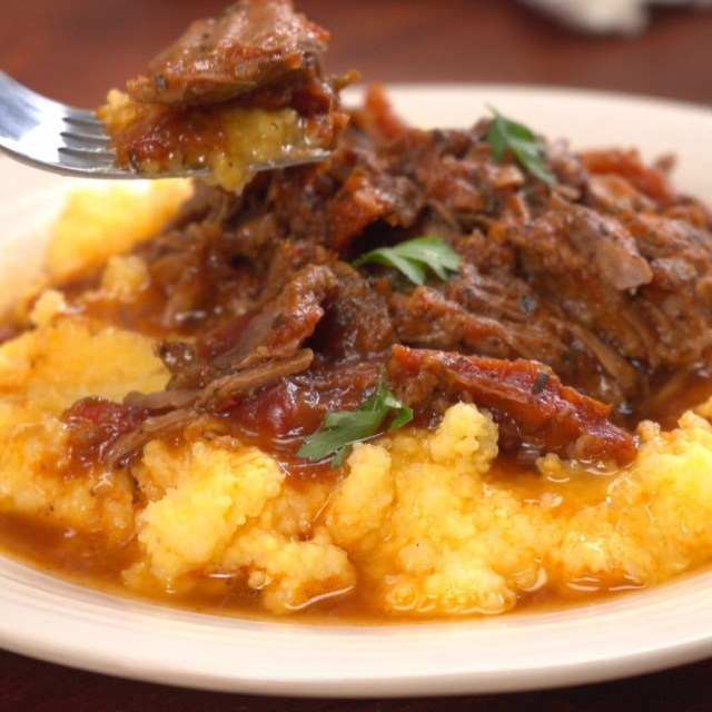 Fork getting bite of Italian-style pot roast
