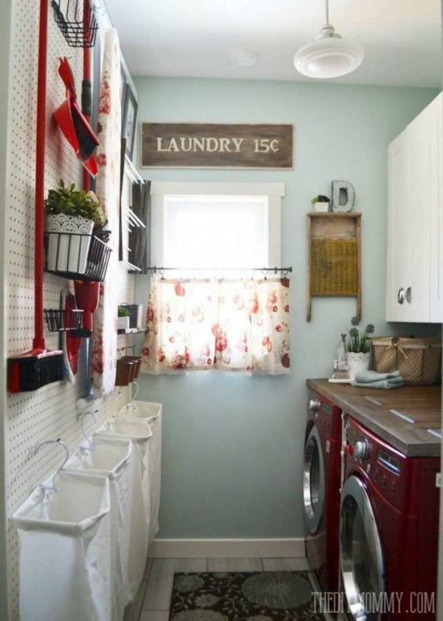 Laundry Room Pegboard Wall
