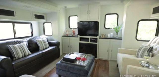 Made-over trailer living room.