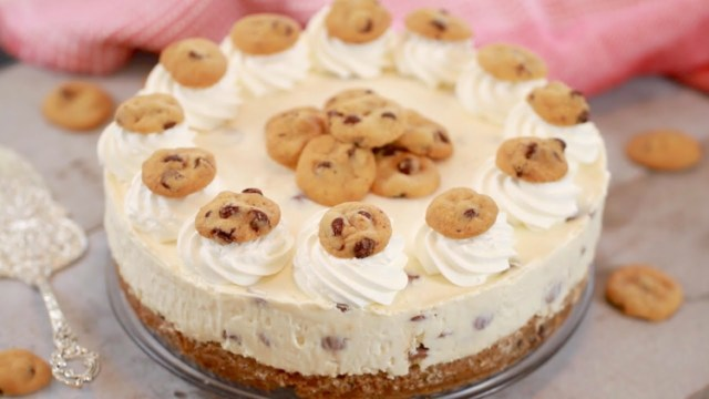 Chocolate chip cookie cheesecake made with cookie crust