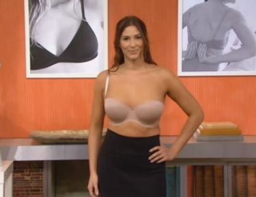 Woman wearing strapless convertible bra.