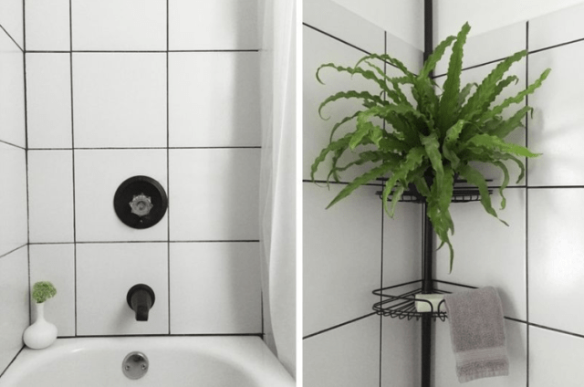 Image of shower for DIY tiny bathroom remodel.
