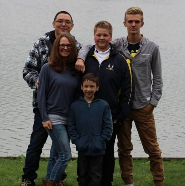 Autumn Brandon and her husband and three sons.