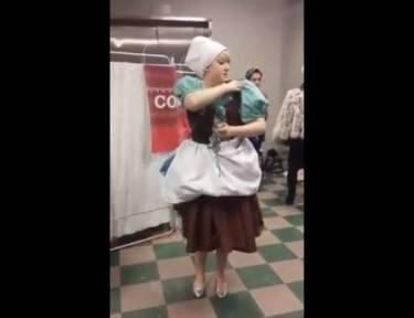 Amazingly transforming Cinderella costume.