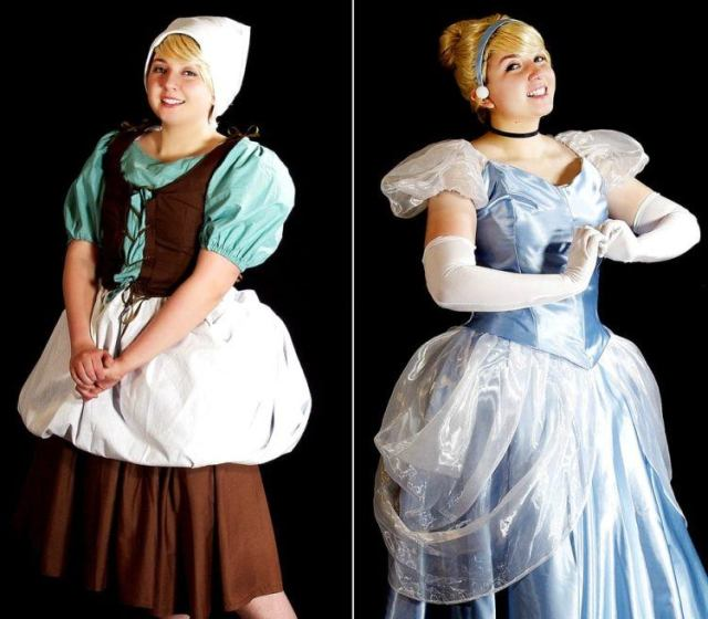 Before and after Cinderella costume.