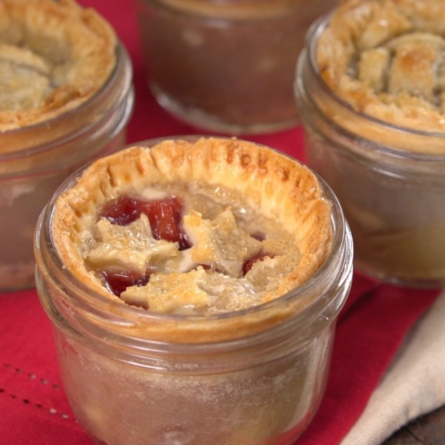 Miniature pies baked in mason jars